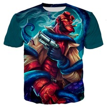 цена на Men's clothing Hell Boy 3D Print T-shirt Hip Hop Cool Punk Smoke gun tshirt skull tees Harajuku Tops women Blood Queen t shirts