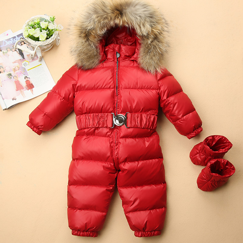 Russia Winter -30 Baby Rompers Duck Down Jumpsuit for girls Clothes Hooded Infant Thicken Warm kids Snowsuit boys Outwear 2018 new baby rompers baby boys girls clothes turn down collar baby clothes jumpsuit long sleeve infant product solid color