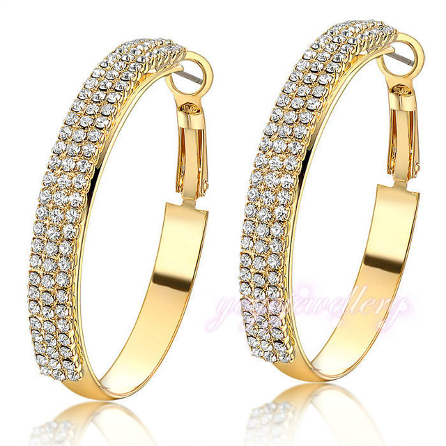 Mytys Pave Setting Crystal big hoop earrings Gold plated earrings for women Fashion jewelry  GIFT E843