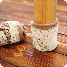 Fashion Modern Europe Home Cotton Home Hotel Lace Flower Sock Cloth Gloves For Table Chair Legs Covers Protect Floor 978302(China)
