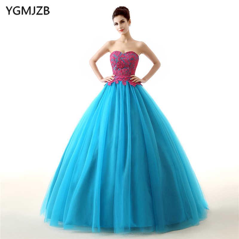 Голубое праздничное платье 2018 бальное платье 15 лет платья кружевной тюлевый материал с накладным орнаментом сладкий 16 платье Vestidos De 15 Anos