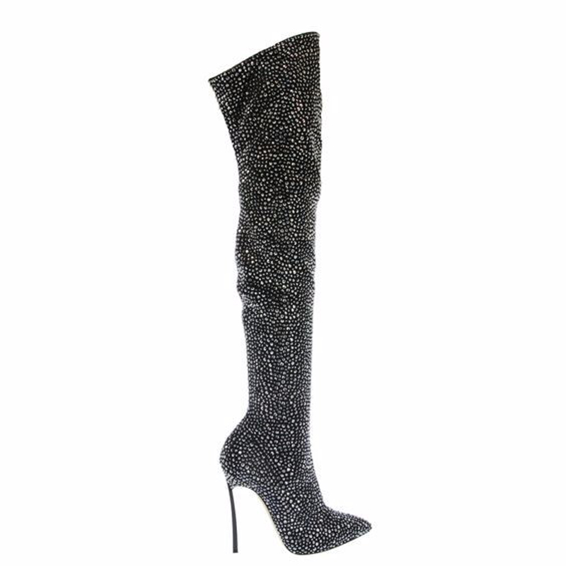 Women Fashion Pointed Toe Blingbling Rhinestone Over Knee High Heel Boots  Sexy Slim Crystal Stiletto Heel Evening Dress Boots -in Over-the-Knee Boots  from ... b00327c43fff