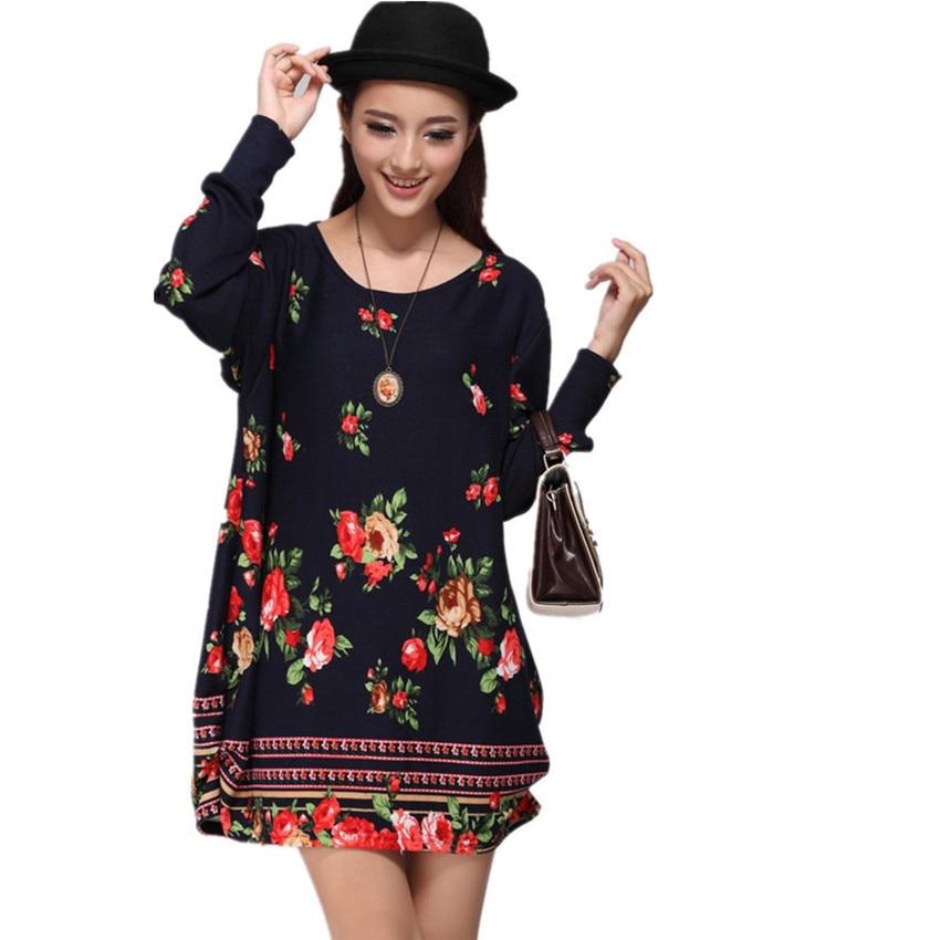 XL-5XL NEW 2016 winter autumn women casual print long sleeve dress plus size loose fashion dresses cartoon tunic big large