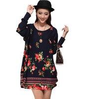 XL 5XL NEW 2016 Winter Autumn Women Casual Print Long Sleeve Dress Plus Size Loose Fashion