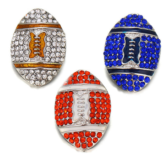 10pcs/lot Sports Football Team Metal Snap Buttons Jewelry Fit DIY 18mm Snap Bracelet Replaceable Button Jewelry