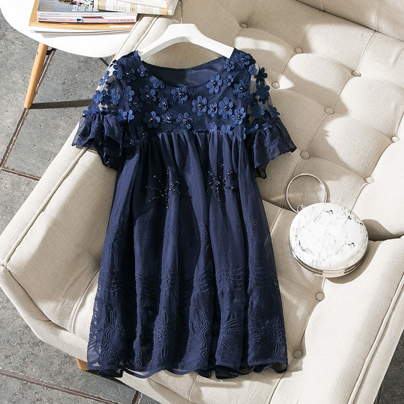 New 2018 summer fashion women sexy sheer dress floral embroidery appliques loose cute flare sleeve korean style dresses blue kiind of new blue women s xl geometric printed sheer cropped blouse $49 016