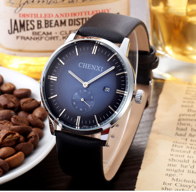 Fashion CHENXI Dual Time Leather White Blue Red Dial Quartz Wristwatches Wrist Watch Clock for Men Male 060A new chenxi brand dial male clock hours hand date black leather straps mens quartz wrist watch 3atm waterproof wristwatches man