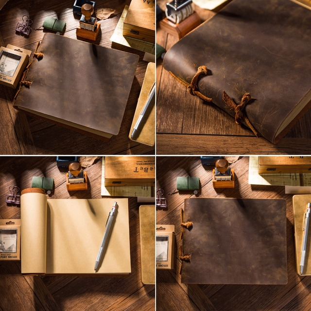 Genuine leather retro notebooks for students planner a5 sketchbooks diary calendar personal organizer 2019