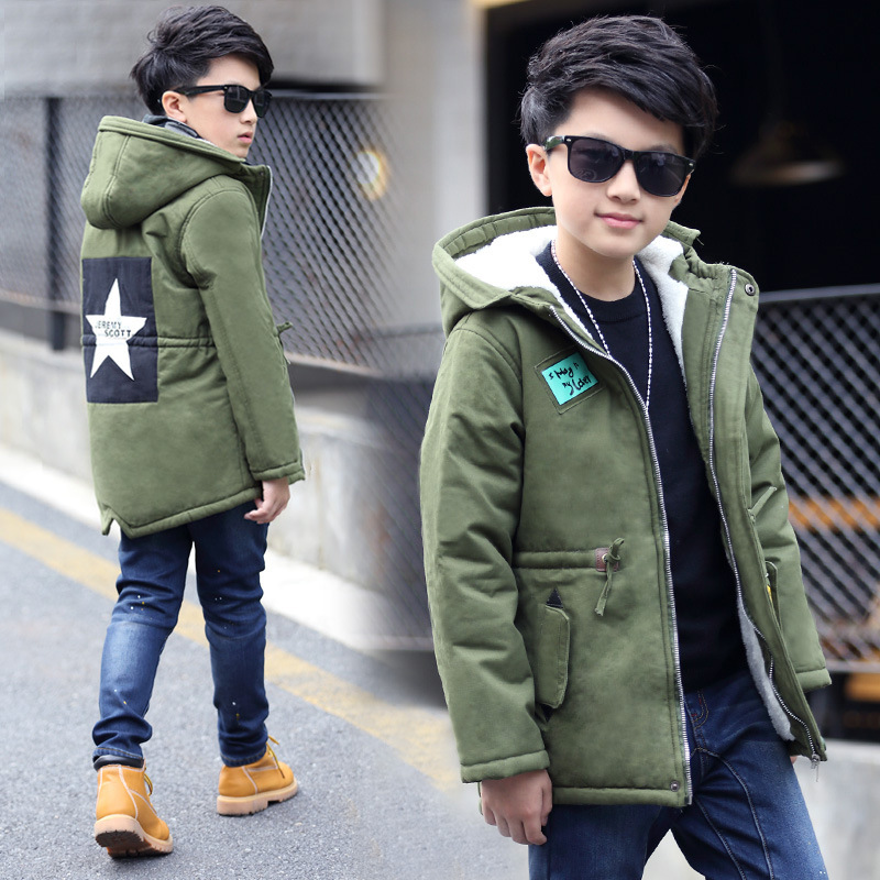 Boys' Cotton padded Coat Children Cold Winter Thickening Warm Down Jackets Clothes Teenagers Kids Hooded Long Outerwear 4 14
