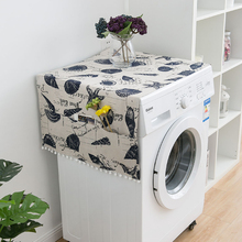 цена на Simanfei Washing machine Cover Rural Japan style Dust Blue shell print Fish scale wave printing Refrigerator Dust Cover Storage