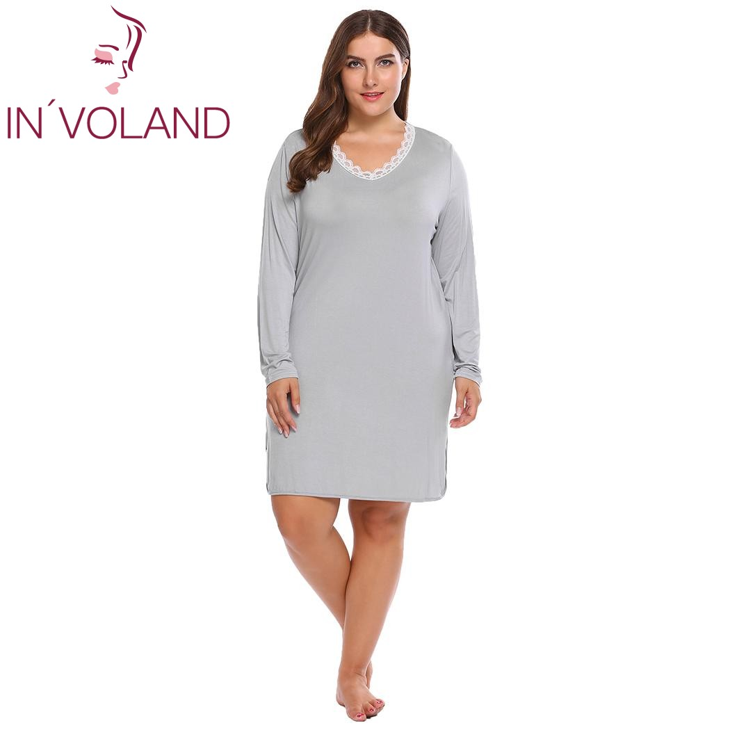 IN'VOLAND Large Size Women's   Nightgown     Sleepshirt   4XL Lace Patchwork Long Sleeve Split Nightwear Dress Sleepwear Shirt Plus Size
