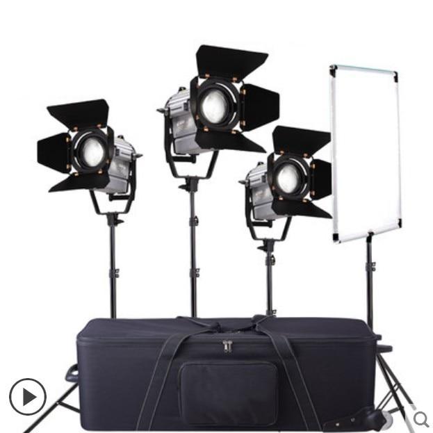 tolifo 1520 leds bi color 3200k 5600k dmx led video studio photo light high cri 2 4g wireless remote control Wireless Remote Control Dimmable Bi-color 3pcs LED150W LED Studio Fresnel spot Light +Light Stand+Carry Bag+Flag Reflector CD50