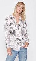 NEWEST EQ 100 Silk Long Sleeve Small Flowers Print Women Blouse Two Pockets Ladies Shirts