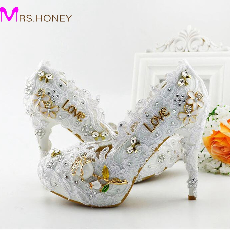 Latest Beautiful White Lace Bridal Dress Shoes Women Pumps Fashion Handmade Bridesmaid High Heel Adult Ceremony Party Shoes
