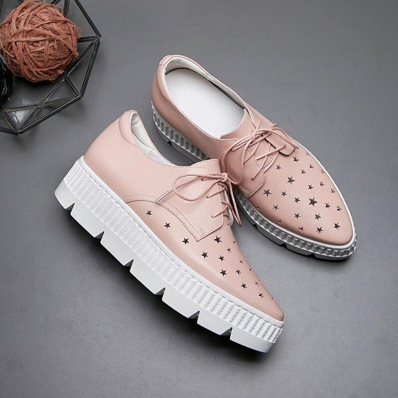 Casuales Fuera La Temporada Alpargatas Zapato Cuero Pink Plataforma Zapatillas Mujeres white Hueco hacia Las De Pisos Mujer Genuino Deporte Encaje Cuatro O4ZWanPg