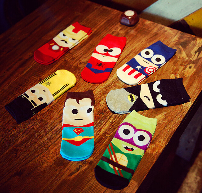 Fashion Invisible Cotton Boat Socks Superman Batman Captain Arrowman Bruce Lee Character Pattern Superheroes Ankle Socks