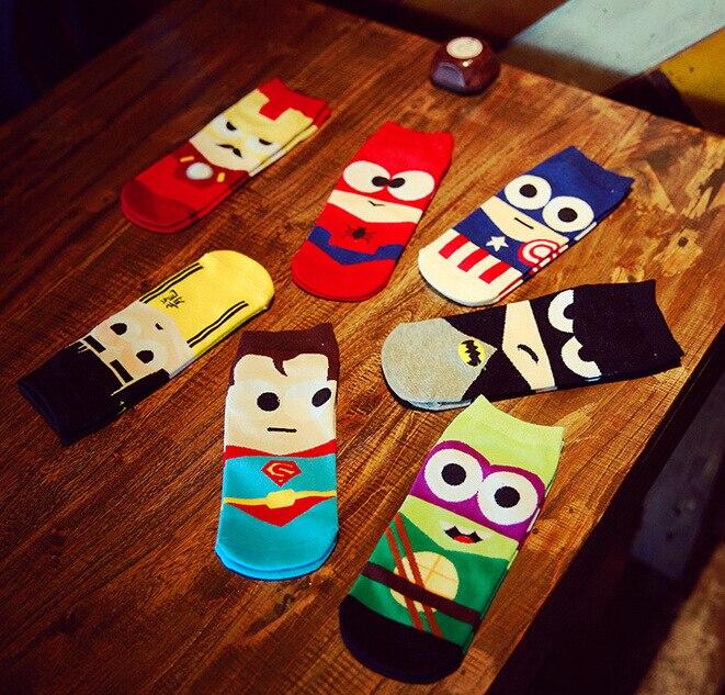 Fashion Invisible Cotton Boat   Socks   Superman Batman Captain Arrowman Bruce Lee Character Pattern Superheroes Ankle   Socks