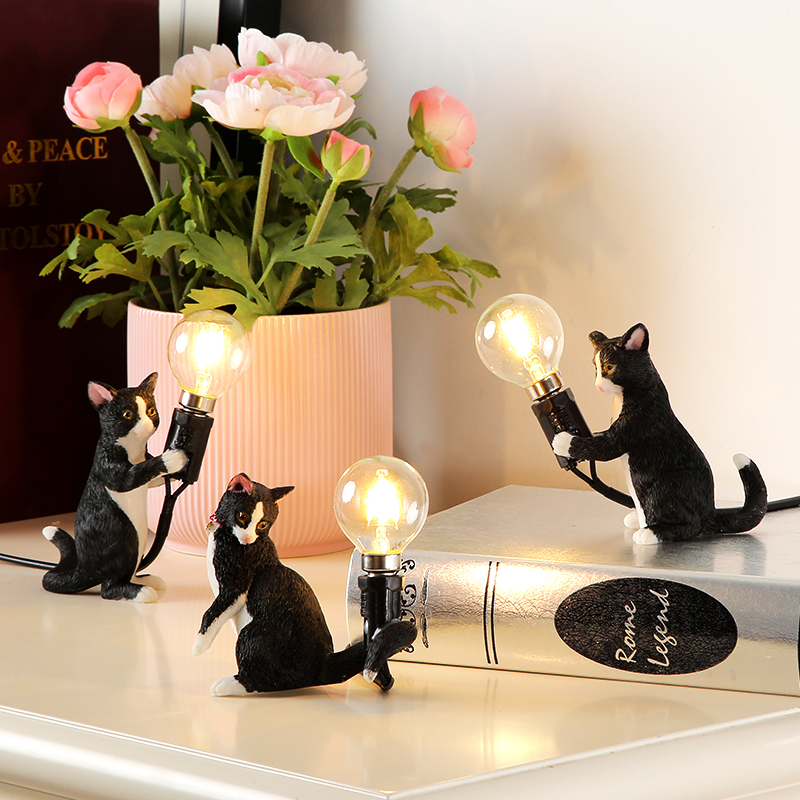 Animals Table Lamp Nordic Childrens Bedroom Resin Cat Table Light  Bar Table Light home Decor night light Lighting FixturesAnimals Table Lamp Nordic Childrens Bedroom Resin Cat Table Light  Bar Table Light home Decor night light Lighting Fixtures