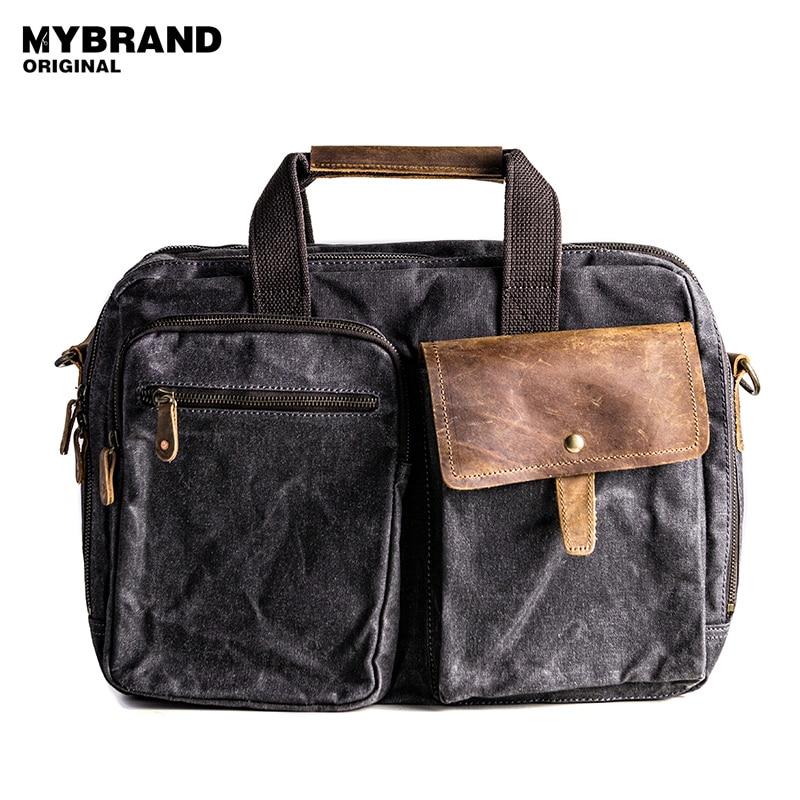 MYBRANDORIGINAL handbag vintage wax canvas men shoulder bag large capacity briefcase laptop bag high quality travel