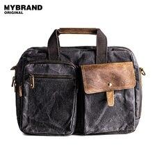 MYBRANDORIGINAL handtasche vintage wachs leinwand männer umhängetasche große kapazität aktentasche laptoptasche hohe qualität reisetasche B90