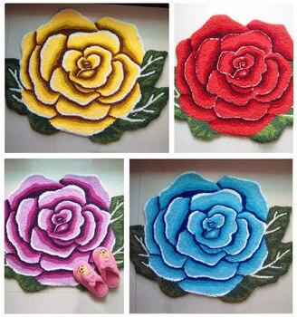 Alfombras con forma de flor Rosa Felpudo de entrada Floral, antideslizantes, para...