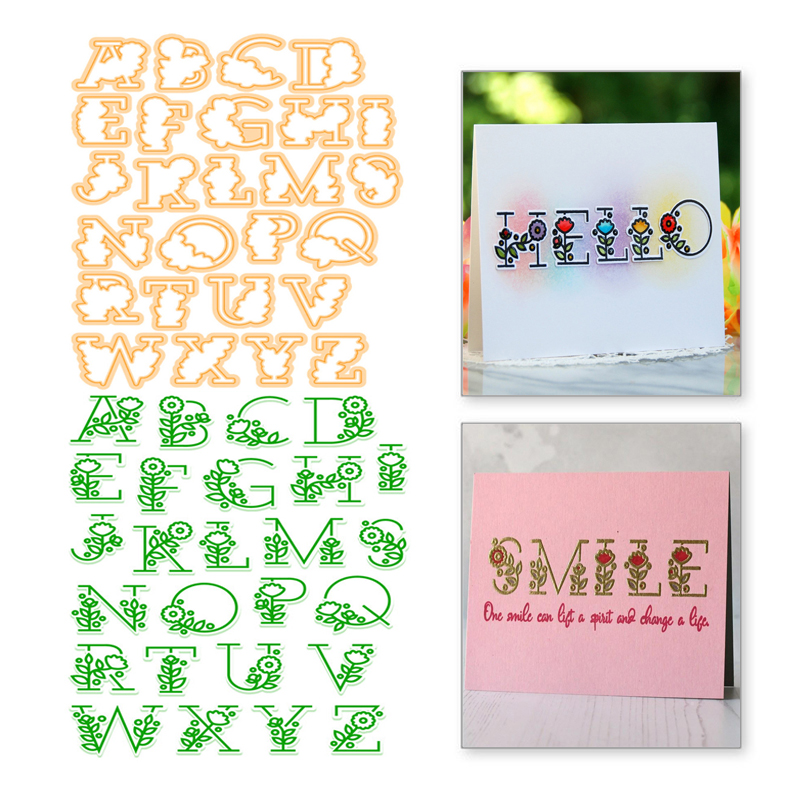 YaMinSanNiO Letter Stamps and Metal Cutting Dies Scrapbooking Alphabet Flower for Background Album Stamps Stencil Embossing Dies in Cutting Dies from Home Garden