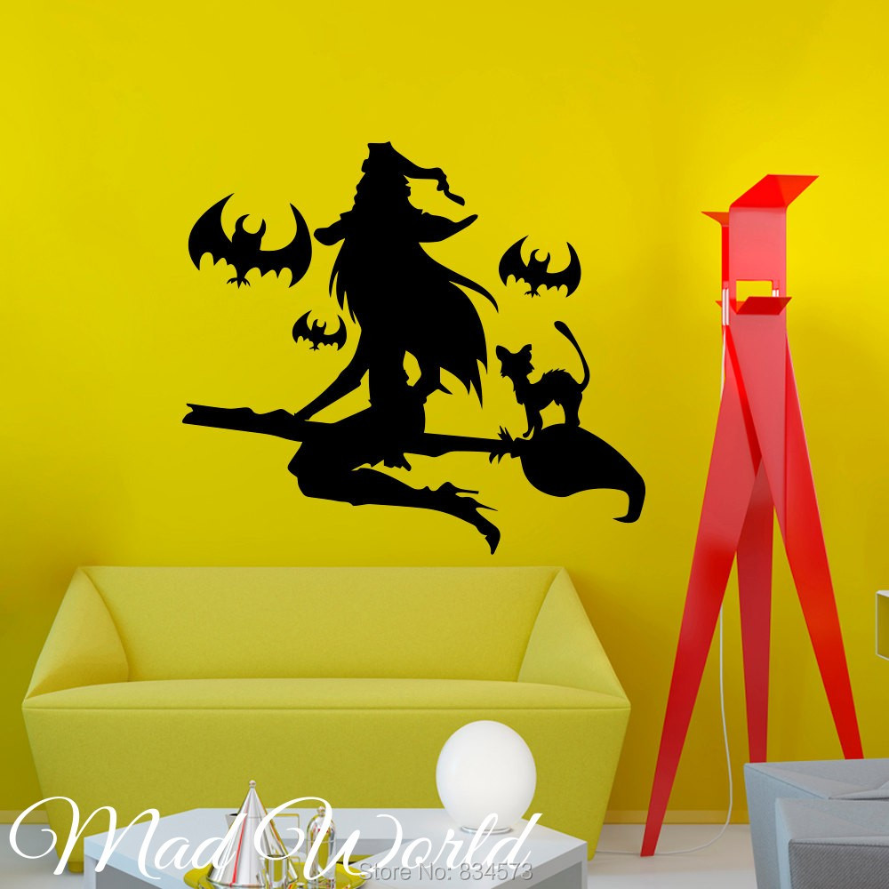 Mad World Halloween Witch Girl Wall Art Stickers Wall Decals Home ...