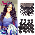 13X4 Ear to Ear Lace Frontal Closure With 4 Bundles Brazilian Body Wave With Closure Ruiyu Human Hair Bundles with Lace Closure
