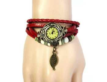 Fashion Vintage Leaf PU Leather Band Women Quartz Bracelet Watches 1