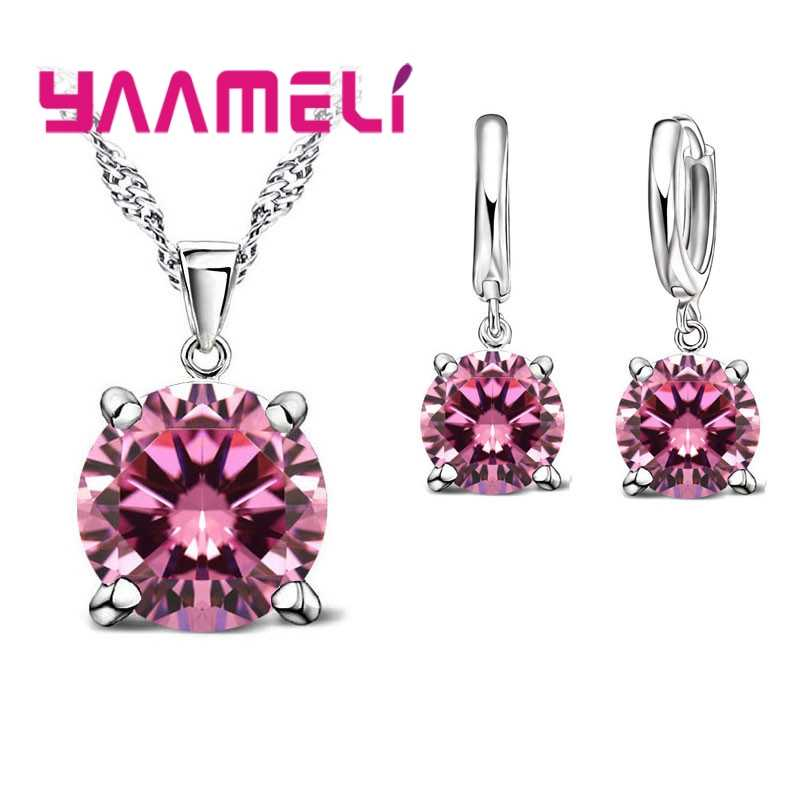 925 Sterling Silver Jewelry Sets Cubic Zirconia CZ Pendant Necklace Earring Classic Bridal Wedding Jewelry For Women