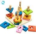 Forma de blocos de Madeira blocos de construção de brinquedos de madeira montessori chirldren Cinco pilares de desenvolver a inteligência do bebê no início da Educação