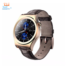 Tragbare Geräte Kreis Display Smart Uhr Sport Smartwatch Bluetooth 4,0 anti-verlorene Kamera Fernbedienung Leder Band