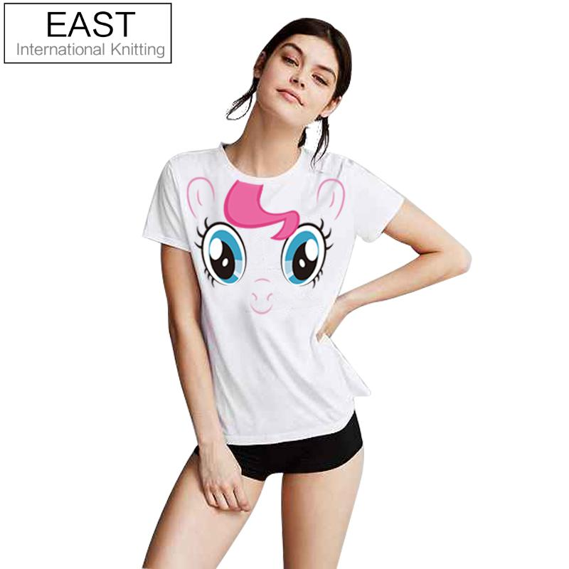 21f90a40 EAST KNITTING H595 2017 Hot Summer Women Punk T shirt Tops My Little Pony  Pinkie Pie Big Face Printed White Plus Size Tees