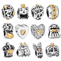 WAYA High Quality Silver Charms Crown Hearts Style European Charm Fit Snake Chain Bracelet DIY Original Jewelry Making