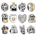 WAYA High Quality Silver Charms Crown Hearts Style European Charm Fit Snake Chain Bracelet DIY Original Jewelry Making