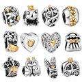 Waya alta qualidade encantos de prata coroa corações estilo charme europeu fit cobra cadeia pulseira original diy fazer jóias