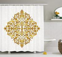 Cortina de chuveiro mandala  estilo vitoriano filigrana tradicional inspirado royal oriental clássico impressão  decoração do banheiro tecido