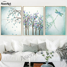 Wall Art Nordic Dragonfly Forest Kitchen Painting Picture Modern Poster Canvas Artwork for Living Room Home Decoration Unframed(China)