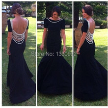 Buy Scalloped Cap Sleeve Pearls Floor Length Open Back Black Mermaid Long Evening Dress 2017 Long Dresses Evening For Women