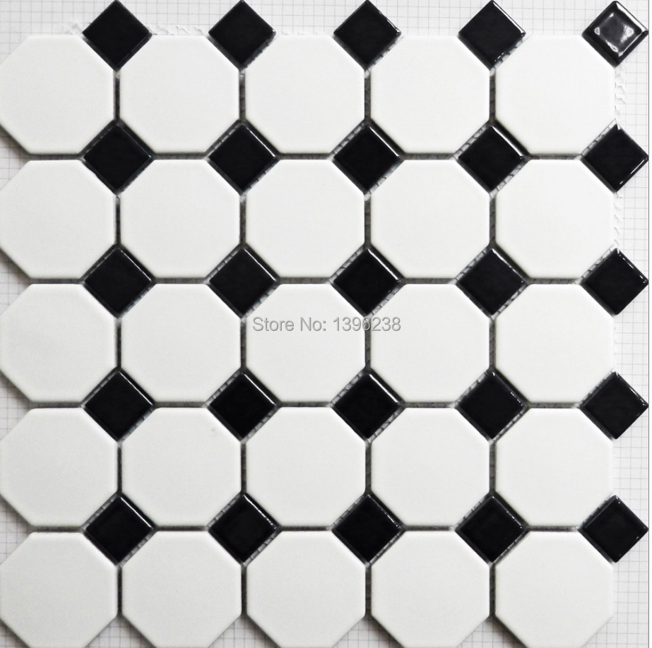 Black White Polished porcelain mosaic tiles bathroom wall/floor ...