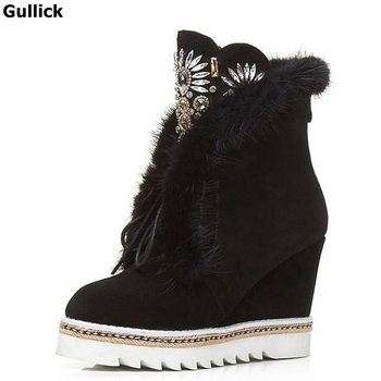 Fashion Crystal Embellished Corss-tied Zipper Wedge Women Boots Short Plush Suede Women Ankle Snow Casual Boots Platform