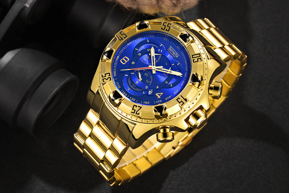 19 Top Brand Luxury Mens Oversize Watch Gold Business Steel Quartz Clock Waterproof Sport Military Chronograph Male Wristwatch 16