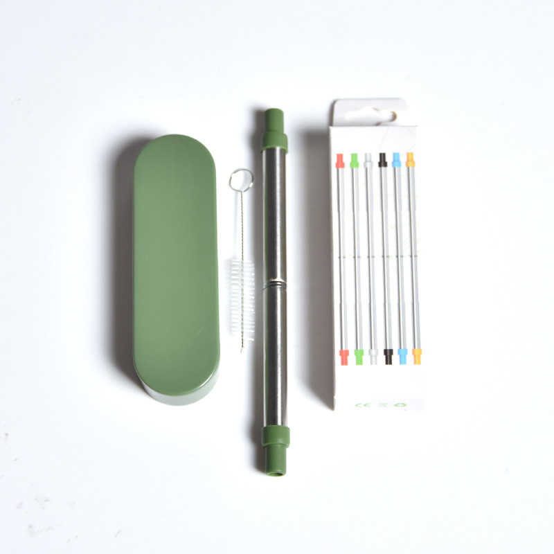 HOT Reusable Collapsible Drinking Straws Stainless Steel Straw with Brush Portable Storage Box NDS66