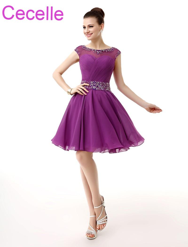 Purple Short Cocktail Dresses 2018 Sleeveless Beaded Ruched Chiffon ...