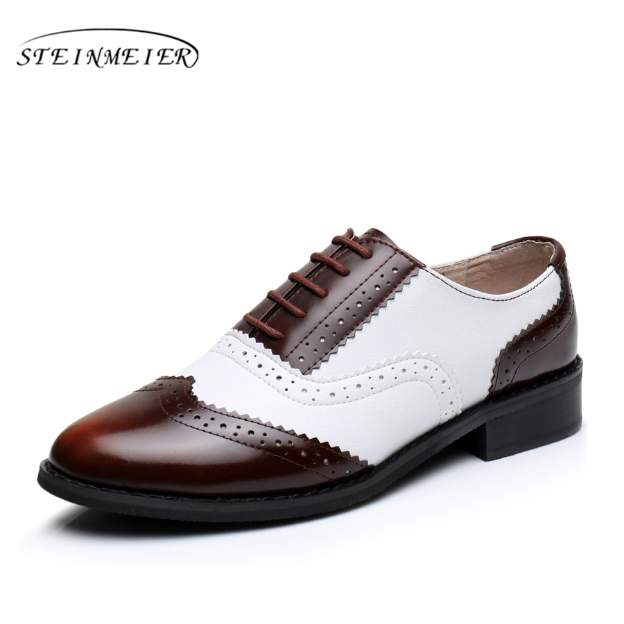 Genuine leather big woman US size 11 designer vintage flat shoes round toe handmade brown white oxford shoes for women with fur genuine leather big woman us size 11 designer vintage flat shoes round toe handmade white black oxford shoes for women with fur