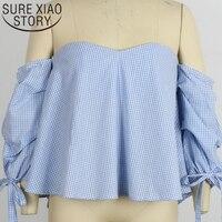 Blue Color Blusas 2017 New Fashion Europe Trade Sexy Slash Neck Shirt Women Blouse Palace Fair