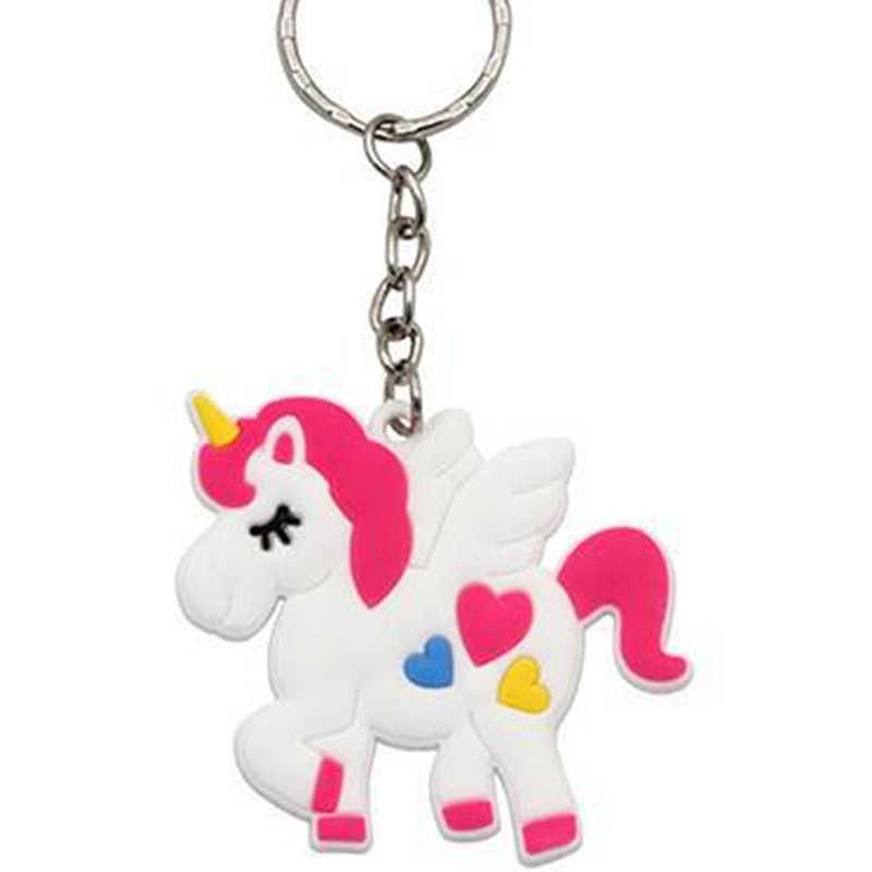 Thời trang Sáng Tạo Phim Hoạt Hình Keychain PVC Cao Su Unicorn Chain Key Ring Túi Người Phụ Nữ Quyến Rũ Người Giữ Chìa Khóa Xe Món Quà Cưới Đảng Đính