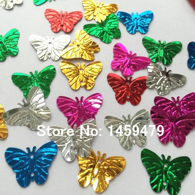 new random mix color 2 hole 720 pcs butterfly shape color sequins sewn 17 x22mm diy - Butterflies To Color 2