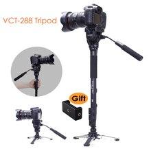 Yunteng 288 מצלמה חדרגל חצובה + נוזל פאן ראש Ballhead + Unipod בעל בסיס Stand עבור Ditigal מצלמה DSLR Smartphone קליפ