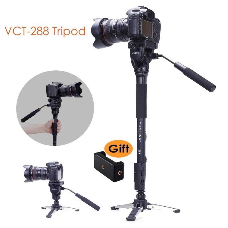 Yunteng 288 trépied monopode pour appareil photo + tête panoramique fluide + support de Base Unipod pour Canon Nikon Sony DSLR Clip pour Smartphone